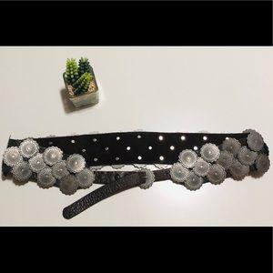 Western Conch Belt in Dark Brown Leather - Sz M/L